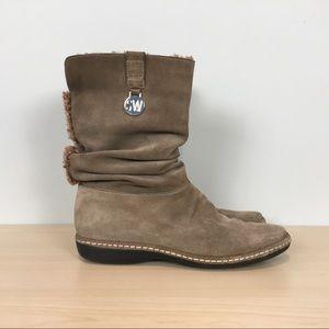 Stuart Weitzman Coinage boots suede 7.5 faux fur